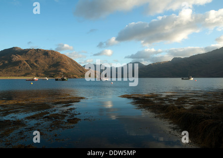 Druim Fada (left) over Loch Hourn, and the mountains of Knoydart from Arnisdale, Highland region, Scotland, UK - Stock Photo