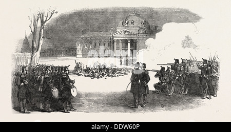 THE REVOLUTION IN FRANCE: TROOPS SHOOTING INSURGENTS - Stock Photo