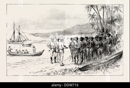 THE KANAKA LABOUR QUESTION IN QUEENSLAND: RECRUITING: TRADERS PERSUADING THE ISLANDERS TO EMBARK FOR QUEENSLAND, - Stock Photo