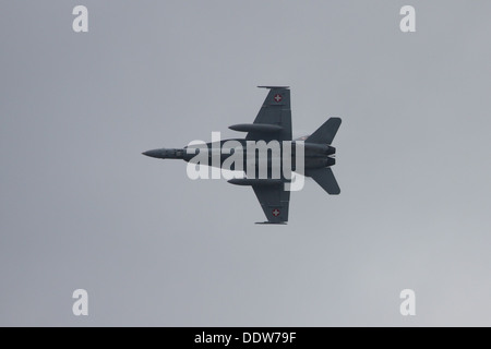 McDonnell Douglas F/A-18 Hornet of the Swiss Air Force - Stock Photo