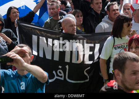 London, UK. 07th Sep, 2013. Far Right EDL (English Defence League) hold march and rally in East London. London, - Stock Photo