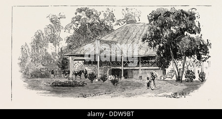 THE CULTIVATION OF TOBACCO IN SUMATRA, INDONESIA: A PLANTER'S HOUSE, 1890 engraving - Stock Photo