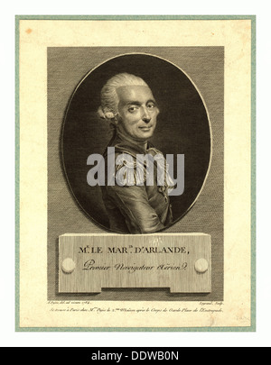 Mr. le maris. d'Arlande, first aerial navigator,  Pujos, André, 1738-1788, artist, Half-length portrait of French - Stock Photo