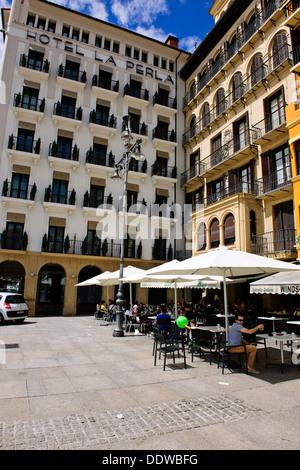 Fashionable Restaurants,Cafes,Tapas Bars in Plaza del Castillo,Pamplona, Iruna,Navarre,Spain - Stock Photo