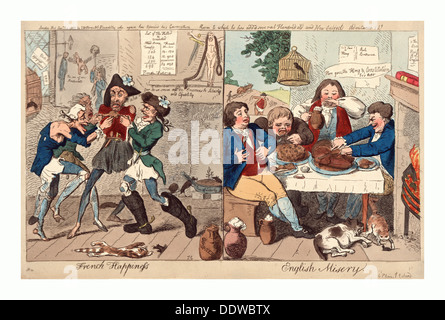 French happiness English misery, Cruikshank, Isaac, 1756?-1811?, engraving 1793, on the left, four ragged and starving - Stock Photo