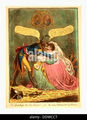 The first Kiss this Ten Years! - or - the meeting of Britannia & Citizen Francois, Gillray, James, 1756 1815, engraver, - Stock Photo