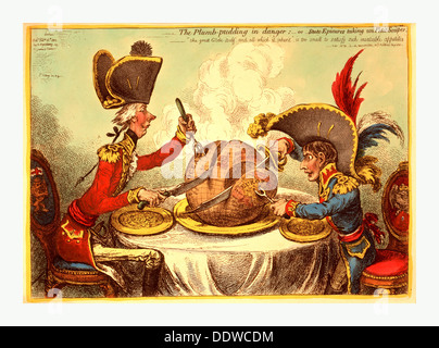 The Plumb pudding in danger, or, State epicures taking un petit souper, William Pitt, wearing a regimental uniform - Stock Photo