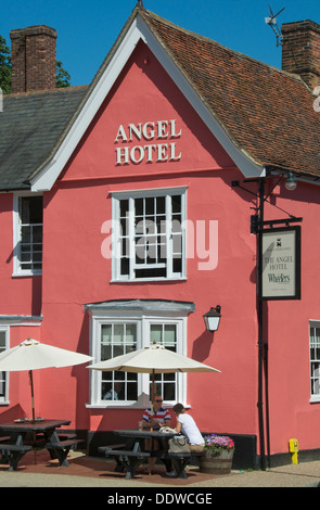 Angel Hotel Market Square Lavenham Suffolk England - Stock Photo