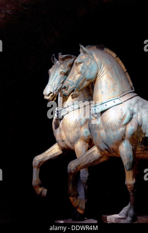 Europe, Italy, Veneto, Venice, classified as World Heritage by UNESCO. Saint Mark's Basilica bronze horses decorate - Stock Photo