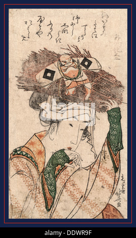 Oharame, Village girl from Ohara. [ca. 1799], 1 print : woodcut, color ; 18.7 x 10.5 cm., Print shows the head-and - Stock Photo