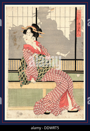 Furyu yusuzumi san bijin, Updated version of three beauties enjoying the evening cool. [between 1807 and 1820], - Stock Photo