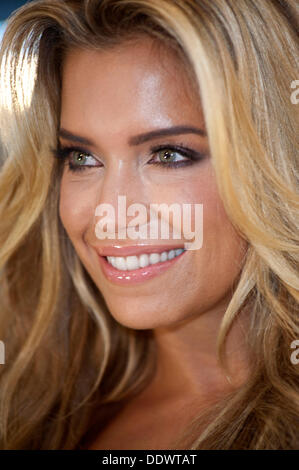 Dutch model Sylvie van der Vaart poses at the Philips booth at the IFA in Berlin on 06 September 2013. - Stock Photo