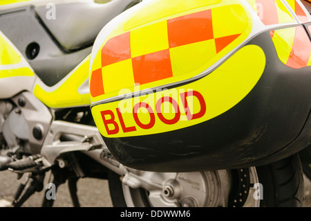 Motorcycles used to transport blood between hospitals, blood transfusion centres and GP surgeries in Northern Ireland - Stock Photo