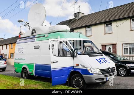 RTE outside broadcast van with satellite dish - Stock Photo