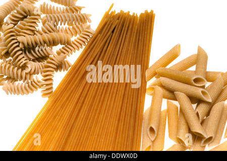 Collection of Whole wheat Pasta isolated on white. - Stock Photo