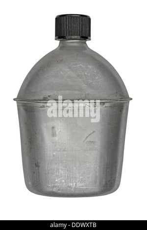 vintage aluminum army canteen isolated over white, clipping path - Stock Photo