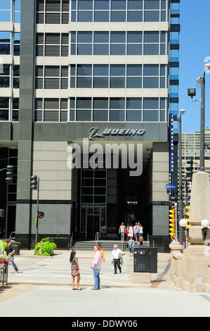 Boeing company headquarters and logo in Chicago, Illinois, USA. - Stock Photo