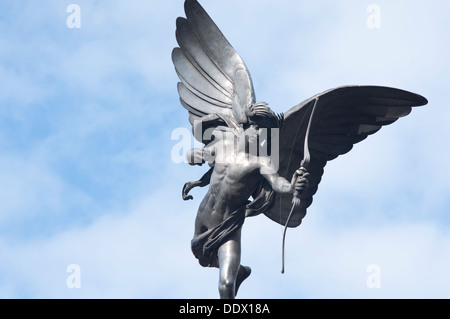 England, London, Piccadilly Circus, Shaftesbury Memorial Fountain, Eros Statue by Sir Alfred Gilbert - Stock Photo