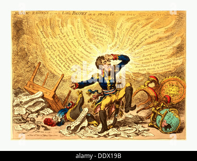 Maniac-raving's or Little Boney in a strong fit, Gillray, James, 1756-1815, engraver, London, 1803,  Napoleon in - Stock Photo