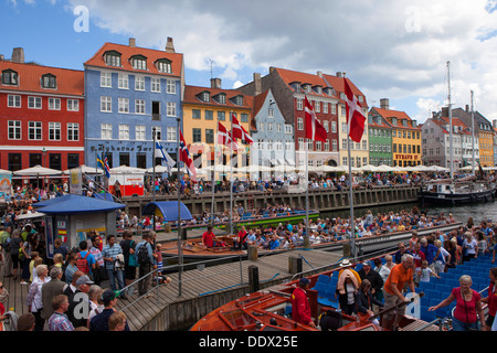 Nyhavn New Harbour 17th-century waterfront canal and entertainment district in Copenhagen Denmark - Stock Photo