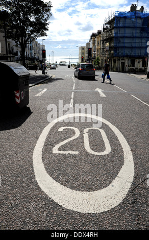 20 MPH speed limit sign on road in kemp town area of Brighton UK - Stock Photo
