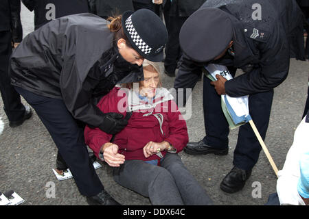 London, UK. 8th Sep, 2013.  Police officers remove a  protestor who had been blocking the road outside one of the - Stock Photo