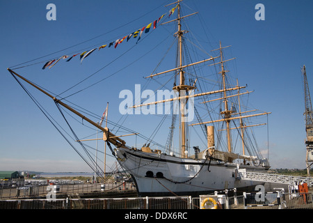 Historic Dockyard Chatham Kent HMS Gannet was a Royal Navy Doterel-class screw sloop launched in 1878. - Stock Photo