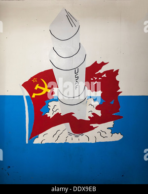 Cold war era artwork in underground bunker, Minuteman Missile National Historic Site, South Dakota - Stock Photo