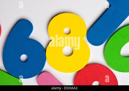 The number 8 in a group of ascending numbers - Stock Photo