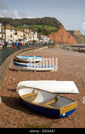 Sidmouth,Devonshire,UK,a seaside town on the South Coast with a promenade and beach,busker and beached boats.a UK - Stock Photo