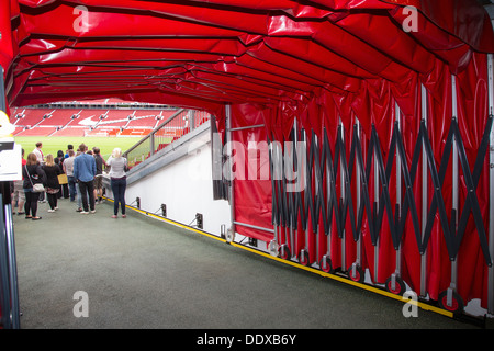 Football tunnel at Old Trafford stadium, Manchester United's home ground, during an Old Trafford Tour. - Stock Photo