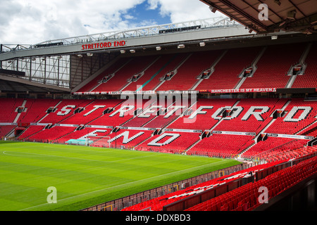 Stretford End Stand at Manchester United's Football Stadium, Old Trafford - Stock Photo