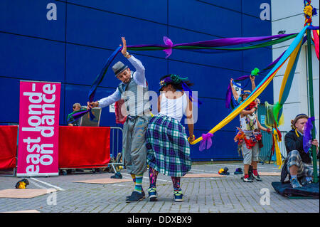 Stratford, London, UK. 08th Sep, 2013. Folk Dance Remix: Step Hop House the Maypole at Theatre Square, Stratford, - Stock Photo