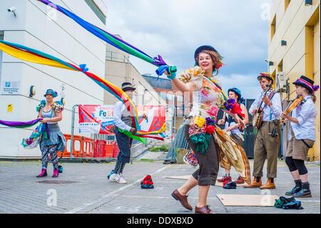 Stratford, London, UK. 08th Sep, 2013. Folk Dance Remix: Step Hop House the Maypole at Theatre Square, Stratford, - Stock Photo