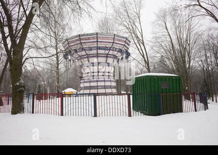 A closed funfair ride in Gorky Park. Minsk, Belarus - Stock Photo