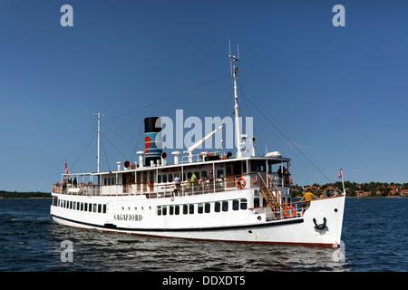Old timer restaurant ship MS Sagafjord. Roskilde, Denmark - Stock Photo