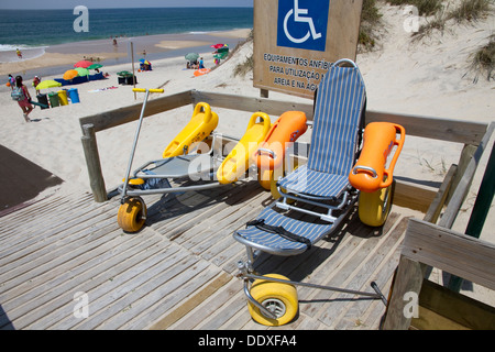 Wheelchairs and mobility equipment for use on beach and in water, Osso da Baleia Beach, Mata Nacional do Urso, Pombal, - Stock Photo