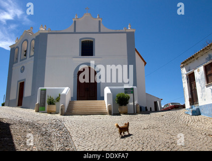 Igreja (Church) da Misericórdia, + Museum of Sacred Art, on hill to Castle, Aljezur, W. Algarve, Portugal. On Rota - Stock Photo