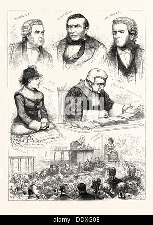SKETCHES IN THE ROYAL COURTS OF JUSTICE: AN INTERESTING TRIAL. 1883. MR. RUSSELL, Q.C.; MR. BIGGAR, M.P.; MR. CLARKE, - Stock Photo