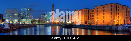 Dusk at the Albert Dock waterfront wide angle panorama Liverpool docks Merseyside England UK L3 4AA - Stock Photo