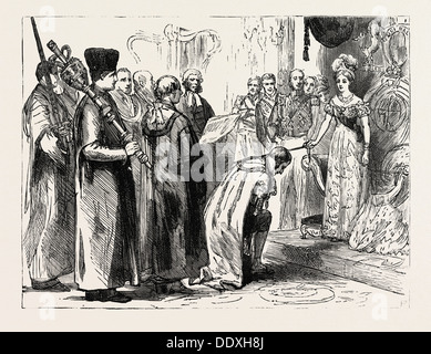 IN THE CITY, NOV. 9, 1837, HER MAJESTY KNIGHTING SIR MOSES MONTEFIORE - Stock Photo
