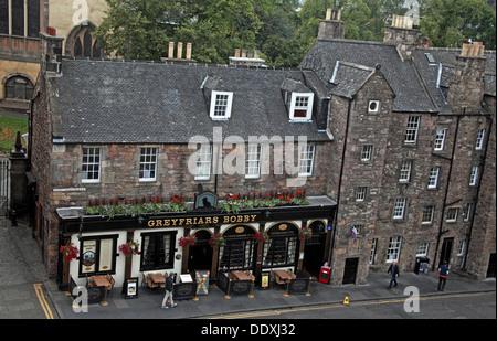 Looking down on Greyfriars Bobby Pub from above, Edinburgh Capital City, Scotland UK - Stock Photo