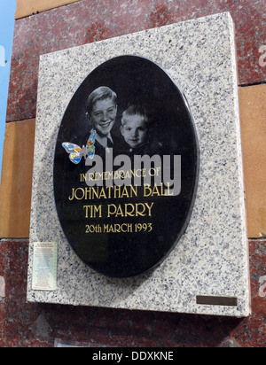 Memorial to Jonathon Ball and Tim Parry, victims of IRA bomb in Warrington 20/03/1993, Cheshire,UK (Replacement - Stock Photo
