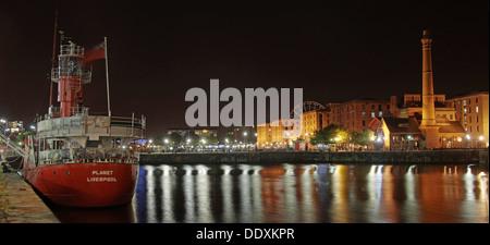 Albert Dock / Red planet  boat at Nighttime liverpool Merseyside England UK - Stock Photo