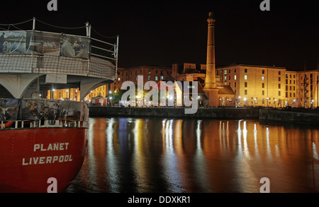 Planet Liverpool light ship Albert Dock at Nighttime liverpool Merseyside England UK - Stock Photo