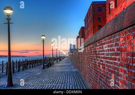 Looking down the Mersey from the Albert Dock at Nighttime liverpool Merseyside England UK - Stock Photo
