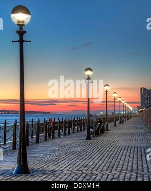 Albert Dock at Nighttime liverpool Merseyside England UK - Stock Photo