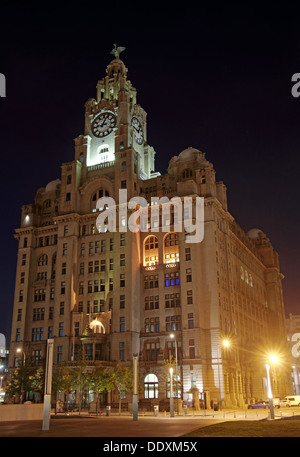 Pier Head Liver Building at Nighttime liverpool Merseyside England UK - Stock Photo