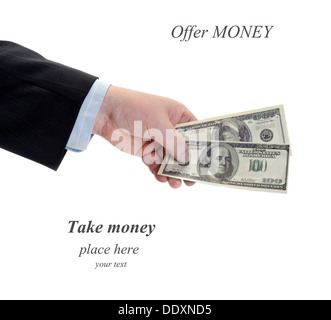 A businessman offer money in hand isolated over white - Stock Photo