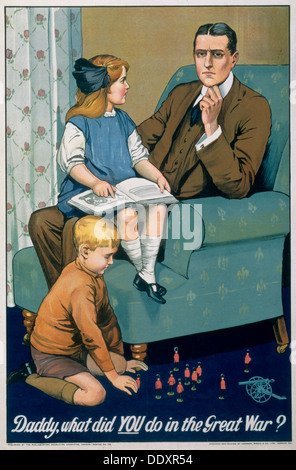 'Daddy, What did you do in the Great War?', British recruitment poster, c1940. Artist: Johnson, Riddle & Co - Stock Photo